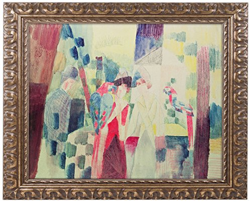 picture of Trademark Fine Art Two Women and a Man with Parrots Artwork by August Macke, 11 by 14-Inch, Gold Ornate Frame