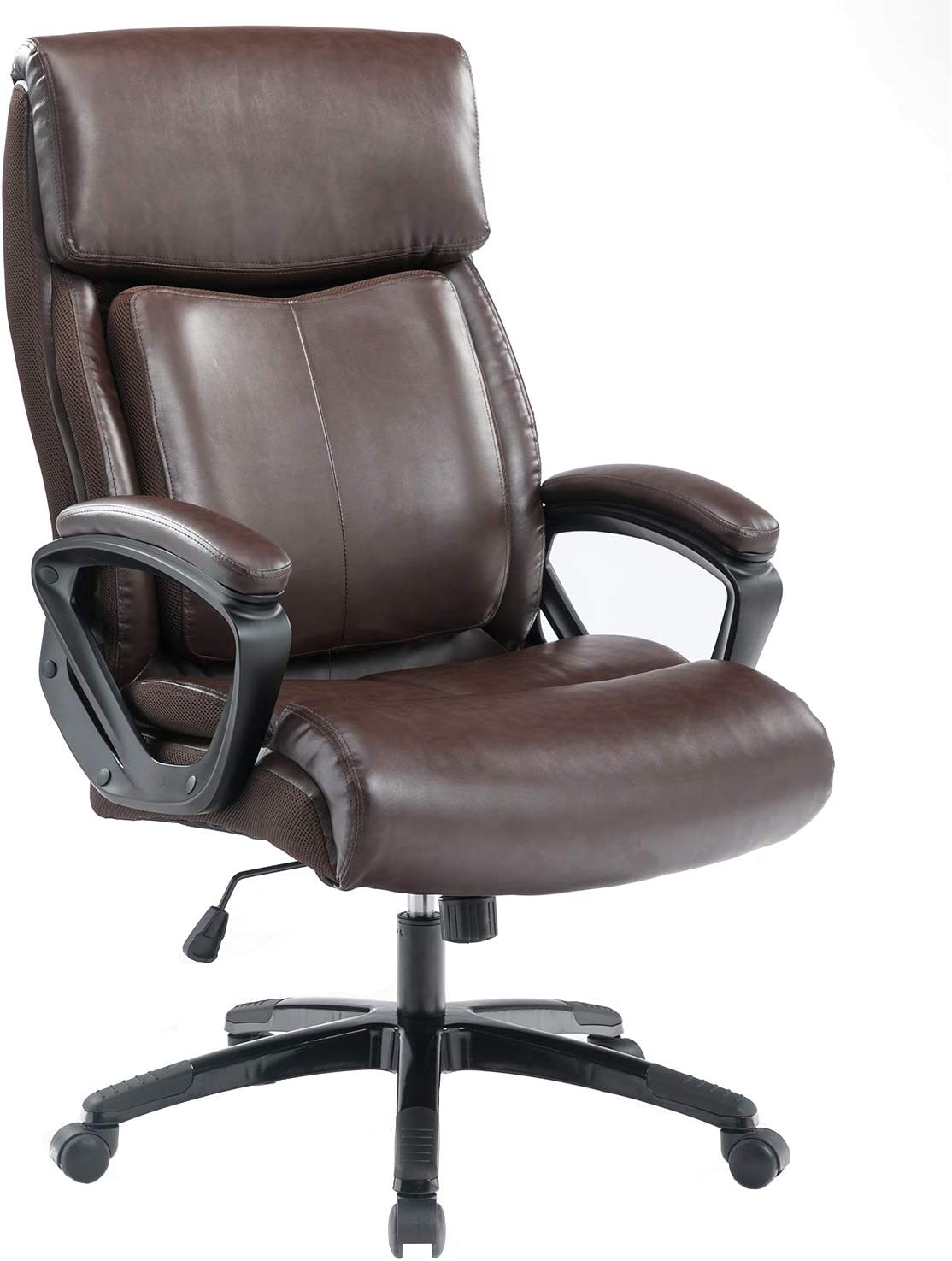 BOSMILLER Office Chair High Back Computer Chair Ergonomic Desk Chair, PU Leather Adjustable Height Modern Executive Swivel Task Chair with Padded Armrests and Lumbar Support,Black … (9080-BROWN)