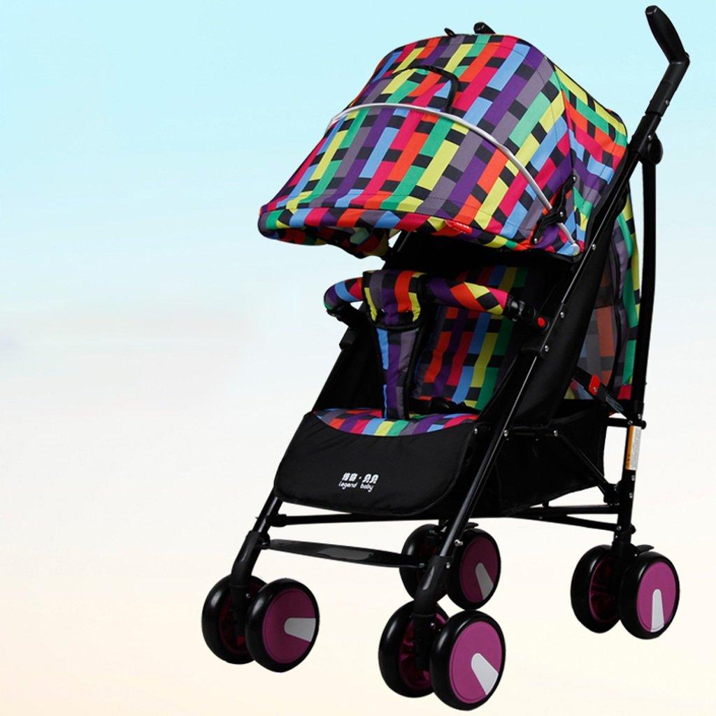 赤ちゃんのベビーカー軽量折りたたみポータブルリクライニング四輪衝撃吸収カート(紫)63 * 53 * 108センチメートル B07BVJ8DY3