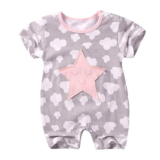 836028e6dc6 iOPQO Newborn Baby Girl Romper Baby Boy Girl Short Sleeve Cotton Jumpsuit  Star Cloud Moon Print