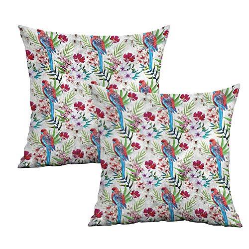 Khaki home Parrots Square Pillowcase Covers Watercolor Tropical Bird Square Pillowcase Covers with Zipper Cushion Cases Pillowcases for Sofa Bedroom Car W 24