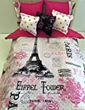 Hand Crafted For American Girl and similar Size Dolls Reversible Comforter Set For 18 inch Doll Bed Eiffel Tower Paris Theme