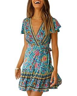 Imysty Womens V Neck Bohemian Floral Print Summer Beach Vintage Party Wrap  Mini Dress with Belt 59124de6e