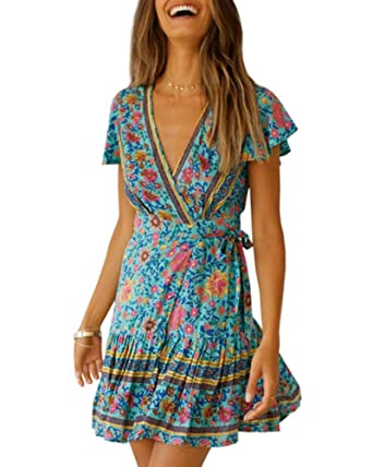 6f159f3ff Imysty Womens V Neck Bohemian Floral Print Summer Beach Vintage Party Wrap Mini  Dress with Belt