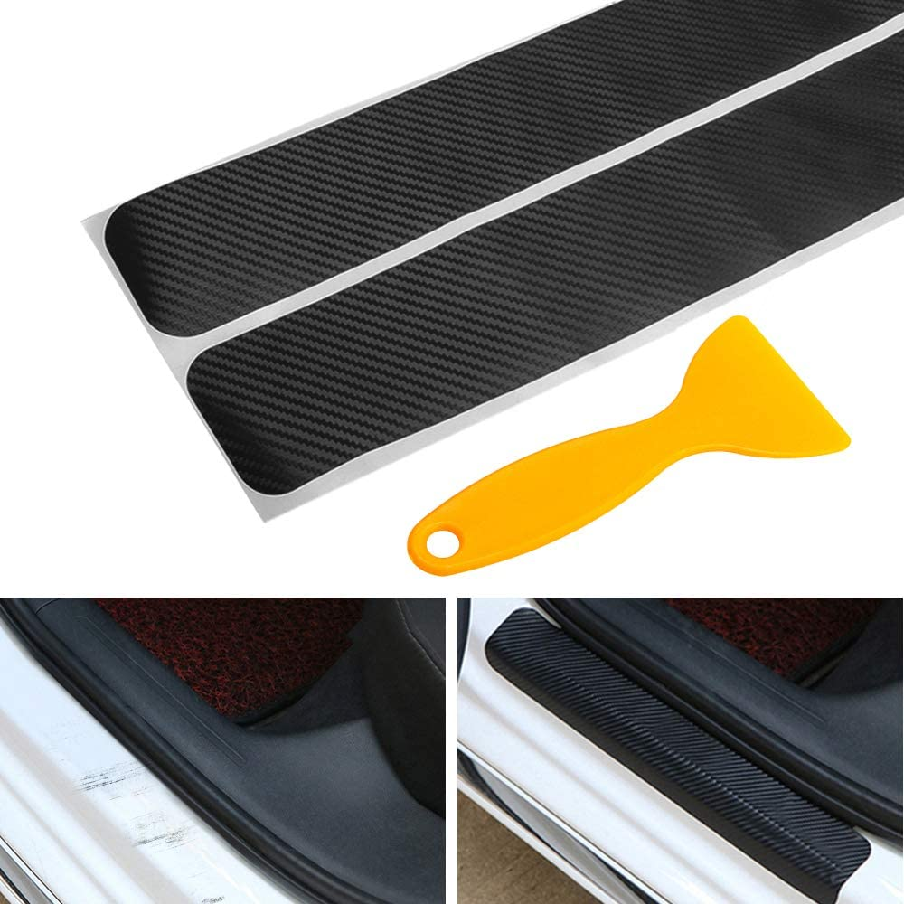 Color Name: Silver Carbon Fiber Vinyl Sticker Car Door Sill Protector Scuff Plate for Ford F150 F-150 Car Accessories