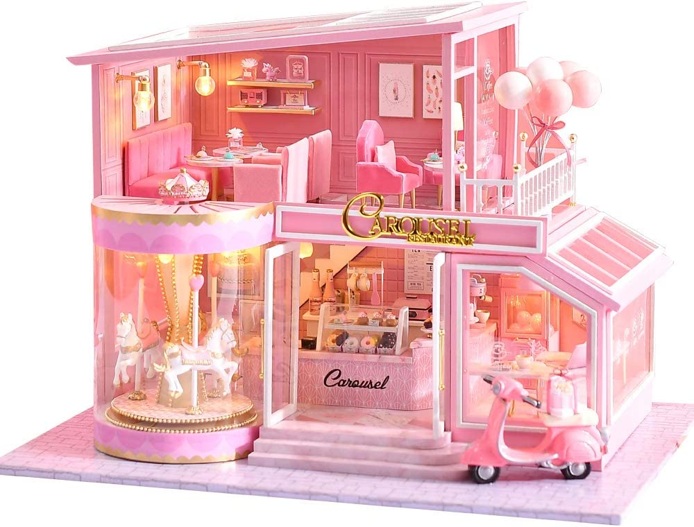 CUTEBEE Dollhouse Miniature with Furniture, DIY Wooden Dollhouse Kit Plus Dust Proof and Music Movement, 1:24 Scale Creative Room Idea(Childhood Memories)