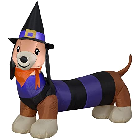 Dachshund Halloween Decorations.Halloween Inflatable 4 Long Led Witch Dachshund Airblown Decoration Amazon In Garden Outdoors