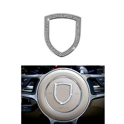 Thor-Ind Steering Wheel Logo Badge Emblem Cover Sticker for Porsche Panamera Cayenne Macan Boxster Cayman 911 718 Diamond Decoration Frame (Steering Wheel Logo): Automotive