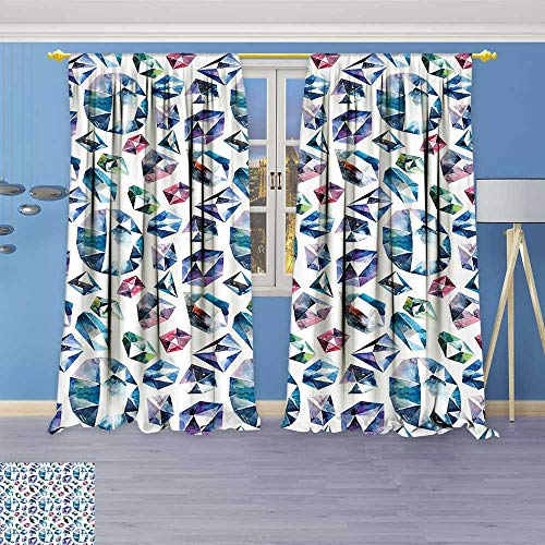 Crystal Astoria Clear (Philiphome Blackout Room Darkening Curtains Small Larges Watercolor Style Shaded Diamond Crystal Stones Zircon Wealth Bridal Theme Image Window Panel Drapes Grommet Top)