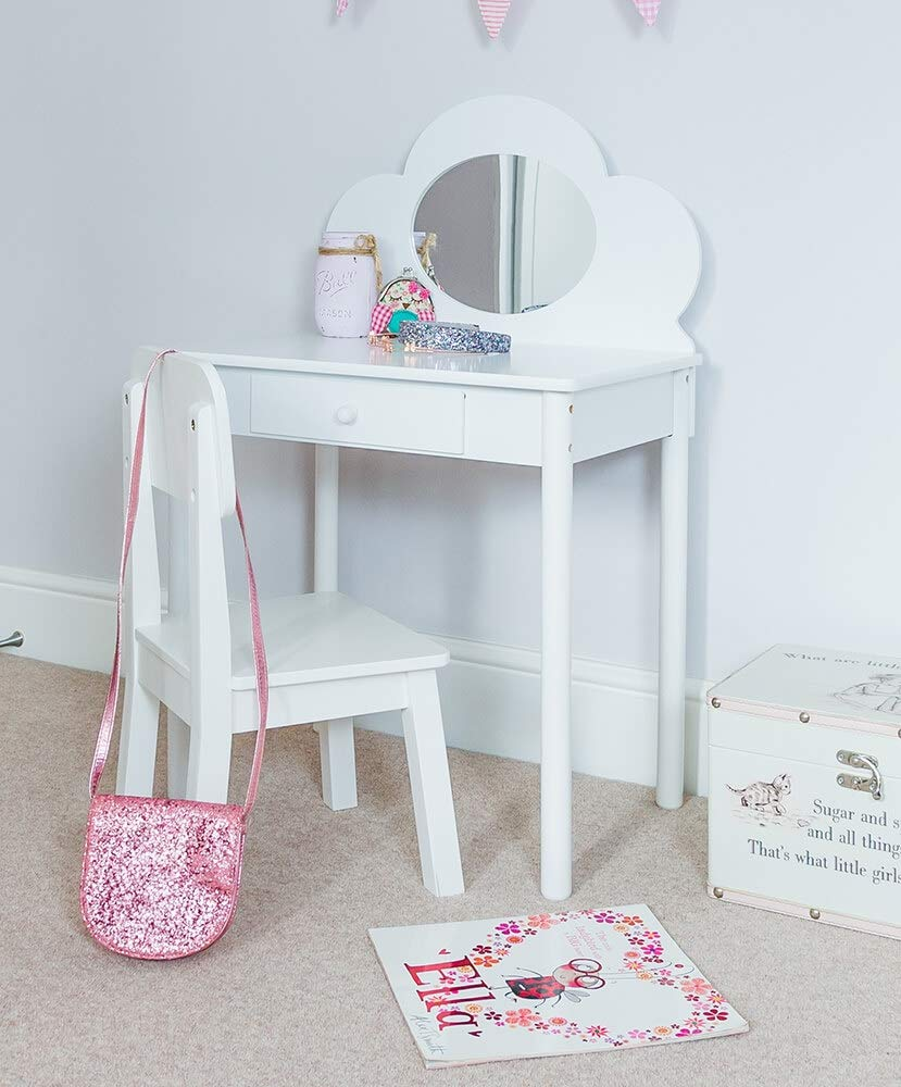 Sue Ryder Childrens Dressing Table & Chair Set Girls Kids Dress Make Up Vanity Mirror