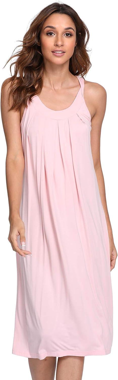 NEIWAI Nightgowns Bamboo Viscose Sleep Shirt Long Night Dress for Women S-4X