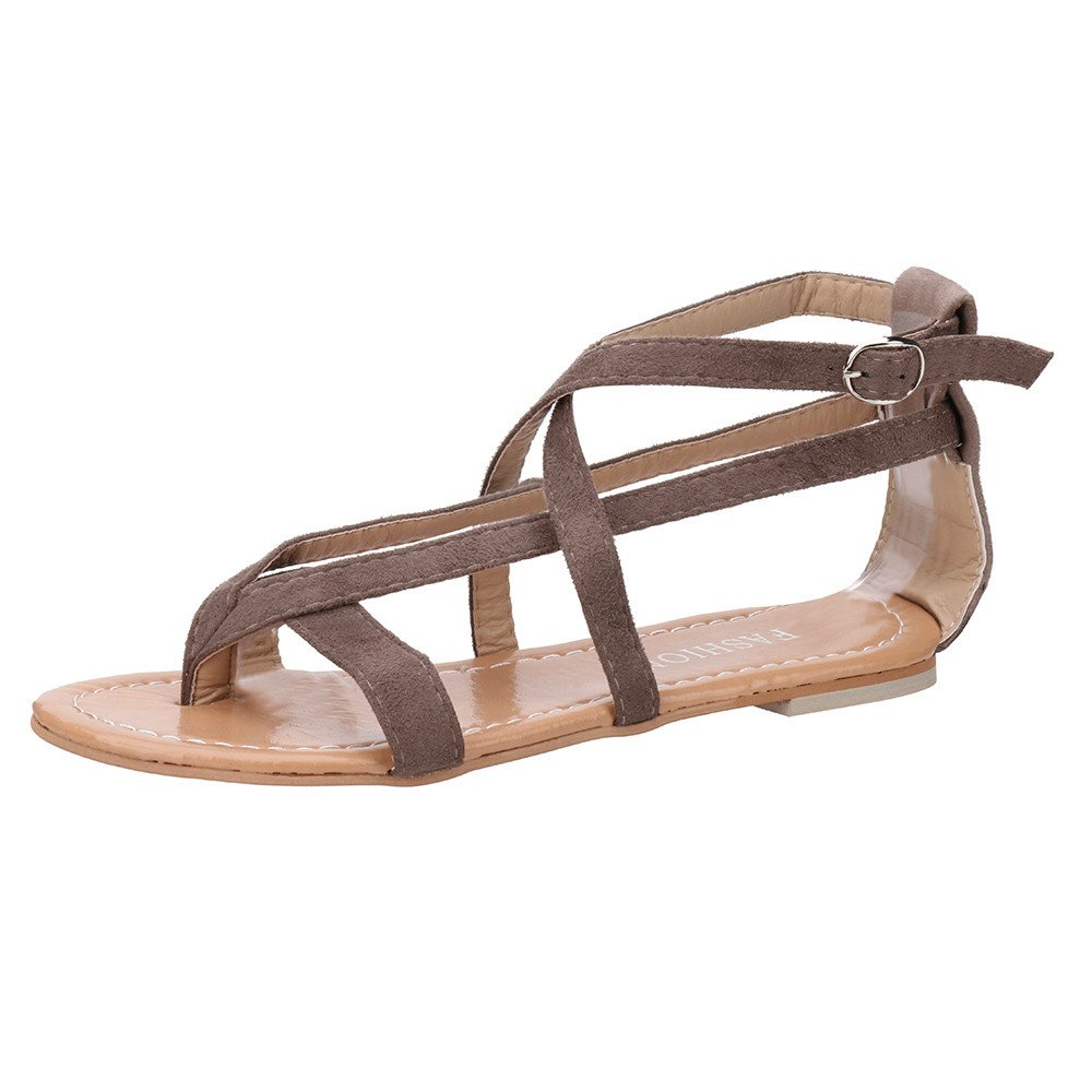 Women summer Flat Sandals, Lady Gladiator Strappy Sandals with Toe Round Sandals lkoezi Espadrille Rome Tie up Sandals