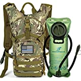 SHARKMOUTH Tactical MOLLE Hydration Pack Backpack 900D 2L Leak-Proof Water Bladder, Keep Liquids Cool Up to 4 Hours, Outdoor Daypack Cycling, Hiking, Running, Climbing, USA Flag Patch, CPTan