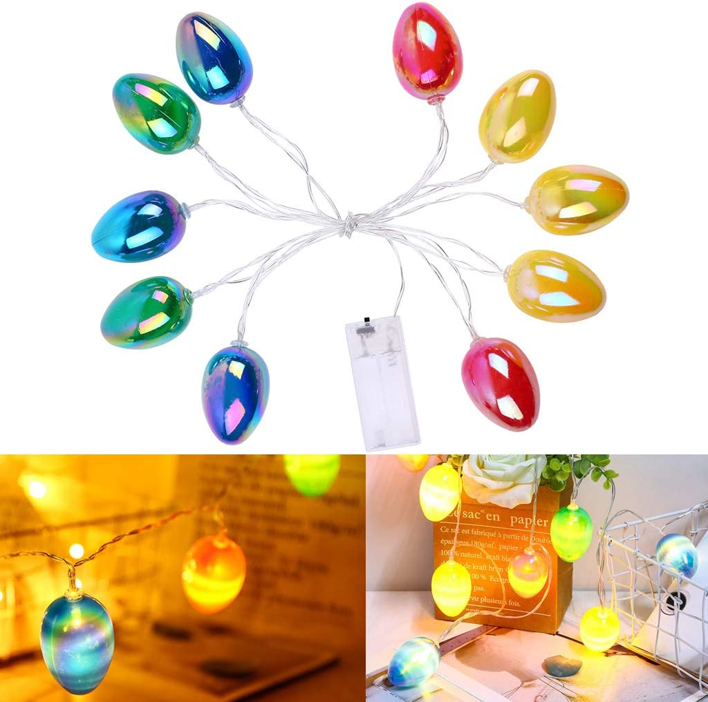 Cherislpy Easter Eggs String Lights, 4.9 ft 10 LED Lights Battery Operated Waterproof for Easter Garden Patio Bedroom Party Decor Indoor Outdoor Celebration Lighting (String 6)