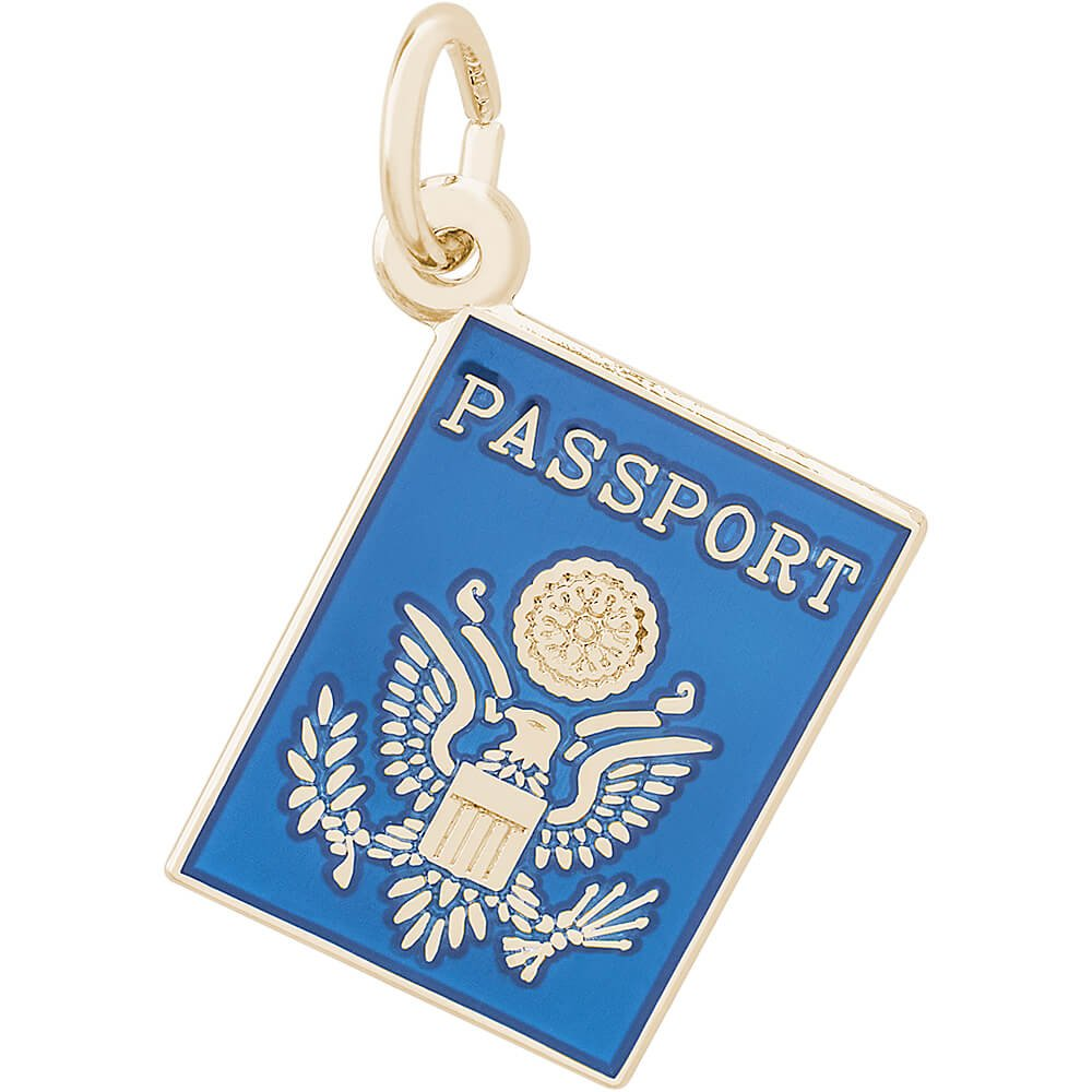 Rembrandt Charms 10K Yellow Gold Passport Charm (13 x 17 mm)