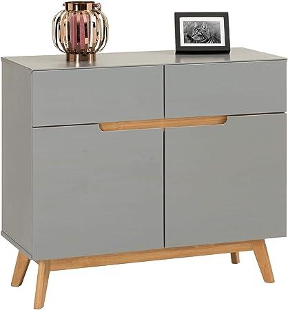 IDIMEX - Mueble aparador Tibor Estilo escandinavo diseño Vintage nórdico Bahut vaisselier 2 Puertas correderas y 2 cajones, en Pino Macizo: Amazon.es: Hogar