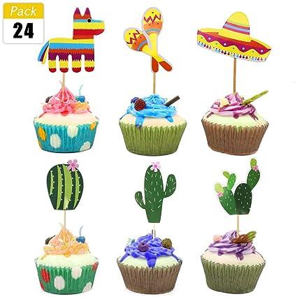 Amazon.com  Mexican Fiesta Party Striped Decorative Cupcake Toppers ... 140e9f900ed