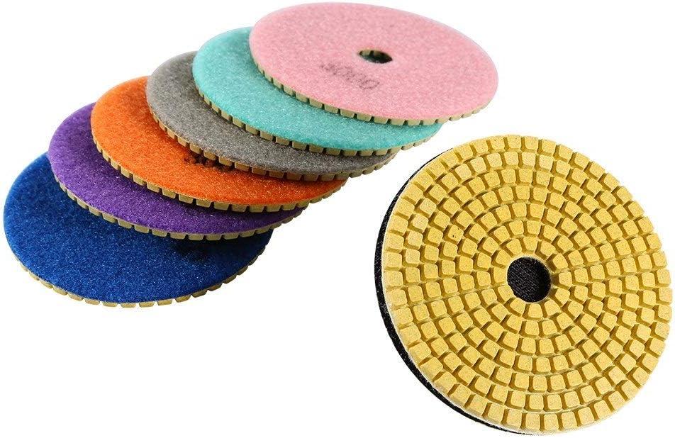 Pad de Polissage BiuZi 7Pcs 100mm Disque de Meulage 1Pc Kit Dassortiment de Disques Collants Kit de Tampons de Polissage for Pierre Artificielle Granit Traitement du Marbre