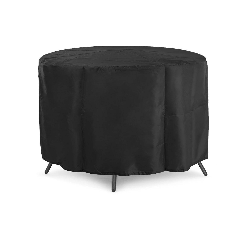 Dokon Circular Table Cover, 420D Oxford Fabric Garden Furniture Cover, Round, 4-6 Seat(128X71cm) - Black