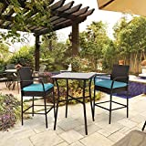 Peach Tree 3PCs Outdoor Wicker Chair with Glass Patio Table Set, All Weather Patio Furniture Rocker Rattan Dining Chairs Barstool High Chairs with Cushions, Blue
