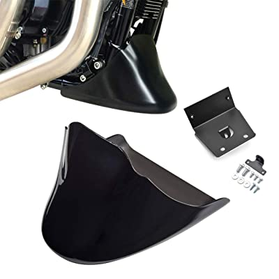 PBYMT Gloss Black Front Chin Spoiler Air Dam Fairing Windshield Mudguard Cover with Metal Bracket Compatible for Harley Davidson Sportster SuperLow Forty Eight Iron 883 1200 2004-2020: Automotive