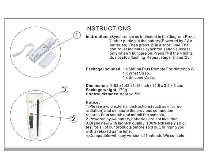 Amazon Sibiono Remote Controller Motion Plus For Nintendo Wii