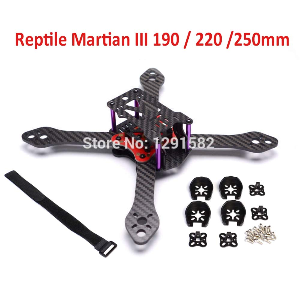 Reptile III 220 Laliva Carbon Fiber Martian III 190 190mm 220 220mm 250 250mm 4Axis Quadcopter Frame 3.5mm Arm & Distribution Board for FPV  (color  III 220)