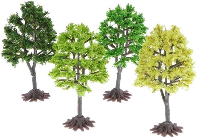 Hellery Miniatura Árbol de Bosque de Plástico de Modelo Árboles Decorar para Fiesta en Parque de Jardín - 4 Piezas 9cm: Amazon.es: Juguetes y juegos