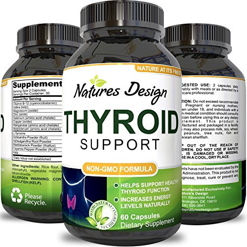 Thyroid Support - Effective Blend for Weight Control - Mix of Herbal Supplements for Thyroid Metabolism - L-Tyrosine, Kelp, Ashwaganda and Bladderwrack for Hormone Support - by Natures Design