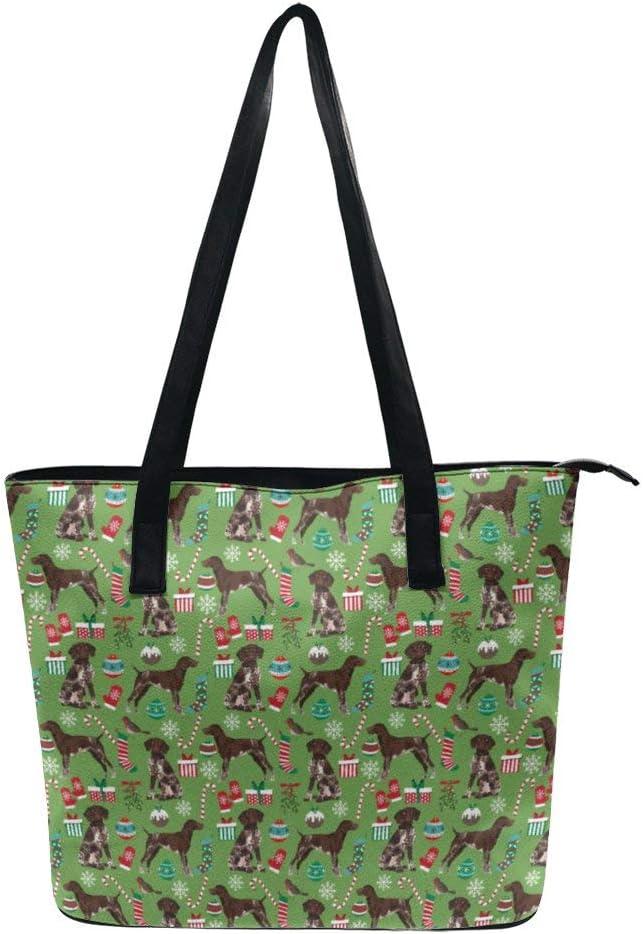 NiYoung German Shorthaired Pointer Dogs Handbags for Women PU Leather Tote Shoulder Bag Waterproof Big Capacity Zippered Shoulder Handbag for Travel Work School Shopping Beach