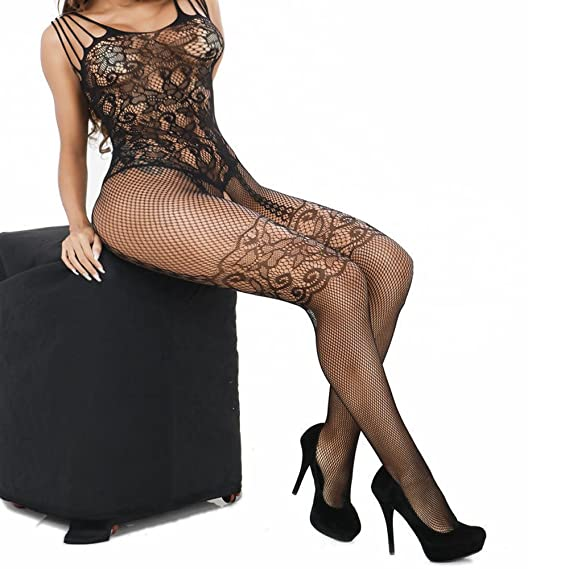 507fb4dea35 Amazon.com  QueensHot Black Strappy Fishnet Chantilly Lace Jacquard Pattern  Seamless Thigh Highs Teddy Bodystockings  Clothing