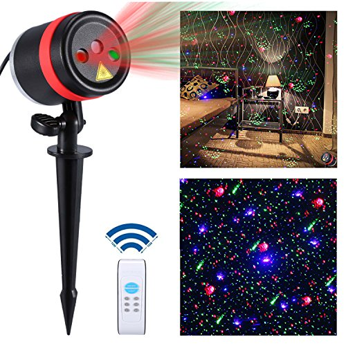 1000 Remote Control Spotlight (Lightess Laser Christmas Lights Outdoor Light Projector Waterproof Xmas Decorations Red Blue and Green Laser Light Galaxy Star Show Spotlight with Remote for Holiday Party Landscape Indoor Decor)