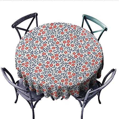 House Decor Circle Tablecloth Vintage Style Retro Flower Design Bohemian Classical Ornamental Daisy Blooms Pattern Flannel Tablecloth (Round, 36 Inch, Red Blue White)
