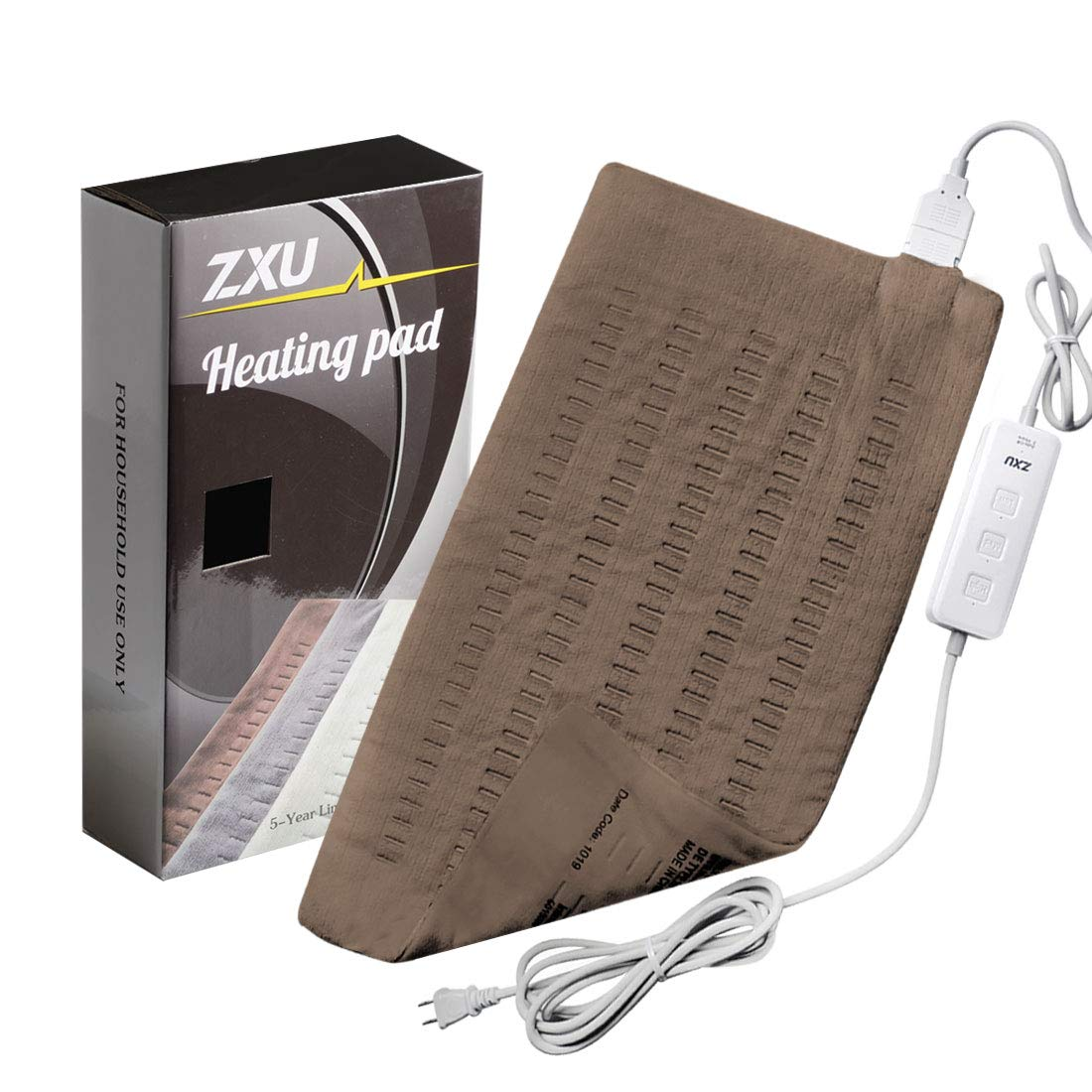 """ZXU XL Electric Heating Pad for Back Pain and Cramps Relief - Fast Heating Hot Pad with Auto Shut Off [12""""x24""""]"""