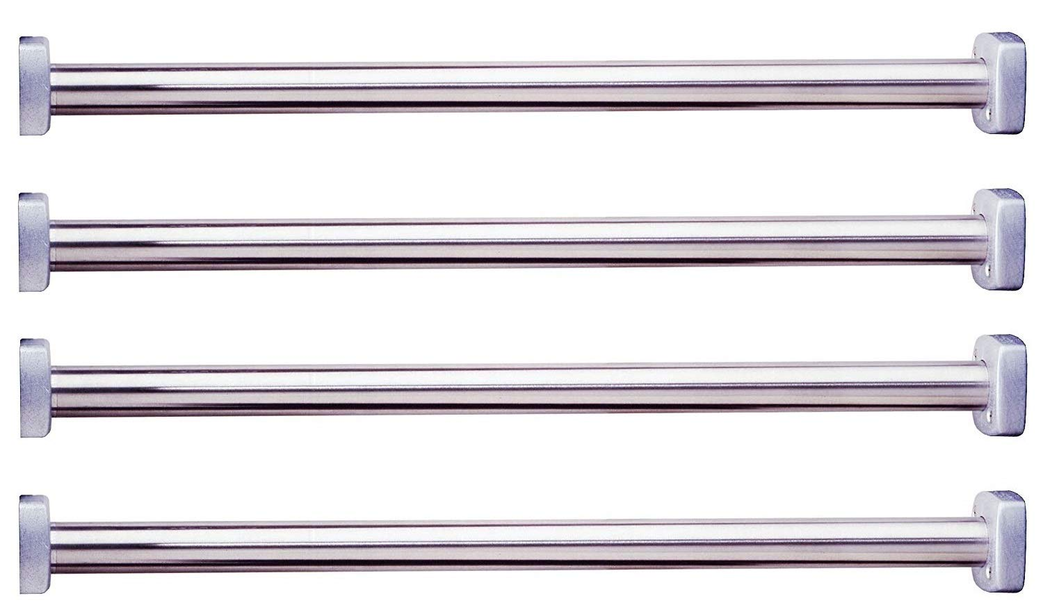Bobrick 6047x36 ClassicSeries 304 Stainless Steel Extra Heavy Duty Shower Curtain Rod with Square End Flange, Satin Finish, 1-1/4'' Diameter x 36'' Length (Pack of 4)