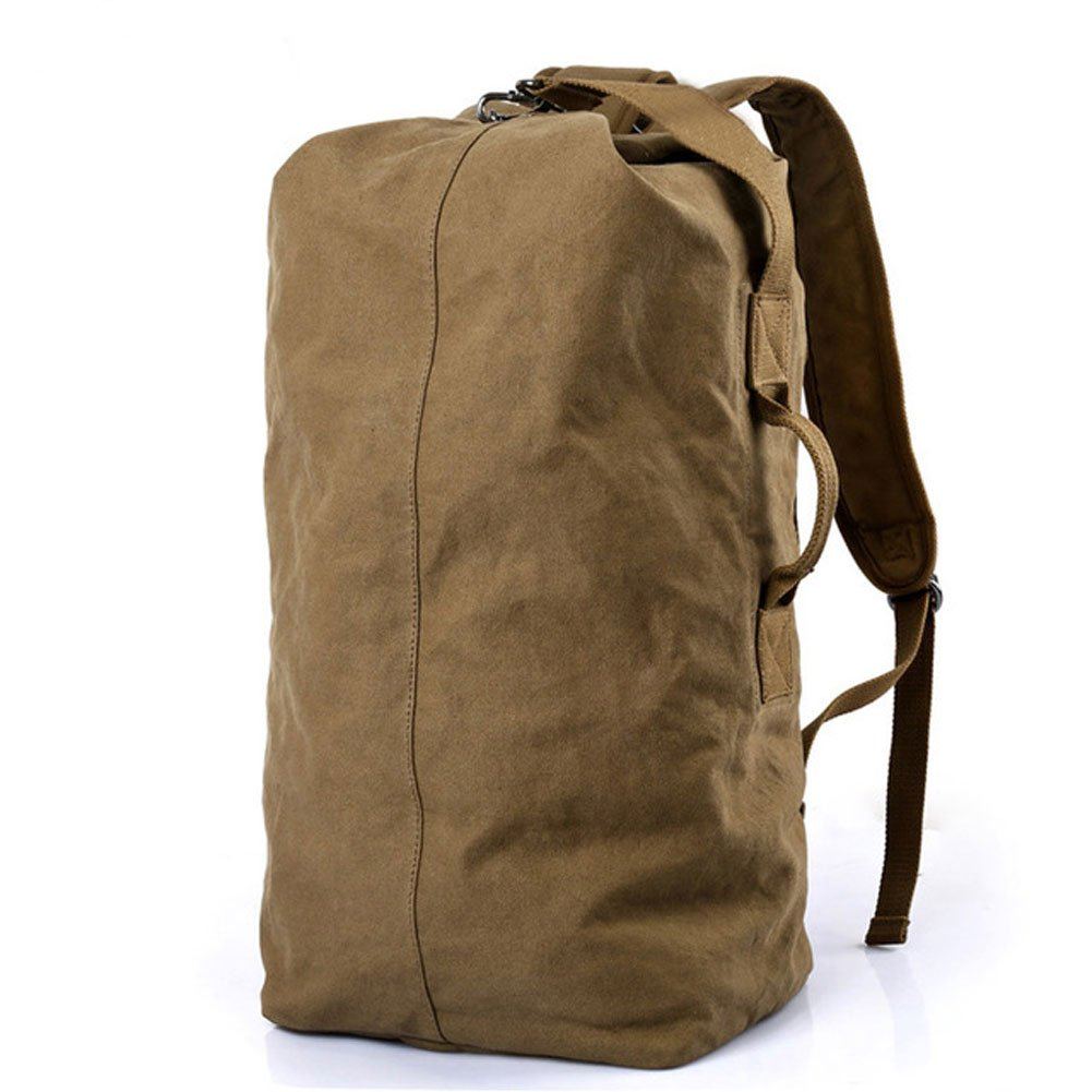 Earthyellow Large Capacity Men Leisure Travel Portable Canvas Waterproof Backpack Student Outdoor Camping Sport Gym Bag