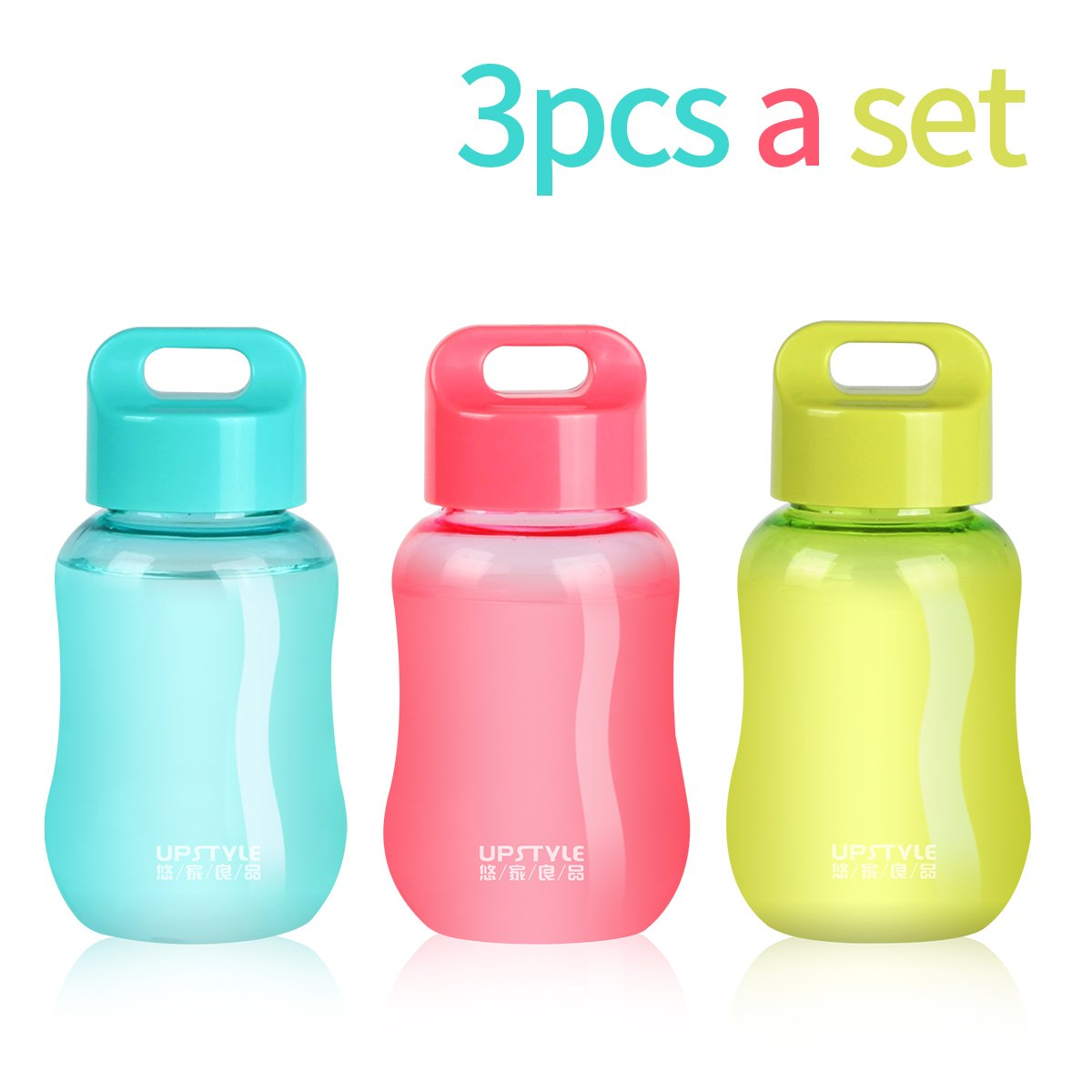 UPSTYLE Mini Small Plastic Coffee Travel Mugs Wide Mouth Portable Sports Water Bottle Cup for Milk, Coffee, Tea, Juice, Kitchen Small Storage Bottles, just 180ml(6oz), 3pcs a set (3 colors)