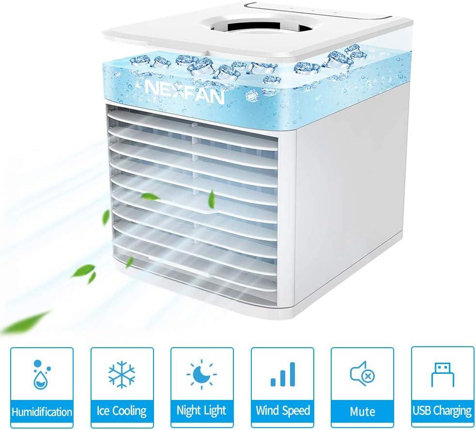 JIMACRO Aire Acondicionado Portátil, NEXFAN Air Cooler Humidificador,USB Oficina Ventilador de Escritorio Aire Personal Enfriador Climatizador para el hogar, al Aire ...