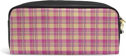 Estuche para lápices con diseño de cuadros, color rosa: Amazon.es: Oficina y papelería