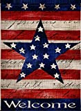 Dyrenson Home Decorative Outdoor 4th July Patriotic Star Garden Flag Double Sided, Welcome Quote House Yard Flag, Primitive Garden Decorations, USA Vintage Holiday Seasonal Outdoor Flag 12 x 18