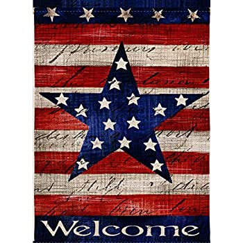 a07dcb4e22e6 Dyrenson Home Decorative Outdoor 4th of July Patriotic Star Garden Flag  Double Sided