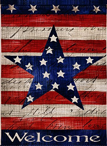 Dyrenson Home Decorative Outdoor 4th of July Patriotic Star Garden Flag Double Sided, Welcome Quote House Yard Flag, Primitive Garden Decorations, USA Vintage Holiday Seasonal Outdoor Flag 12 x 18 ()