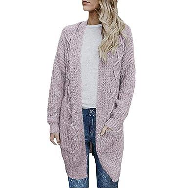 Chaqueta para Mujer, Abrigos De Mujer Tela, Chaquetas De Mujer Primavera Tallas Grandes, Abierto Frente Fornido Cable Tejer Largo Cardigans Suéter ...