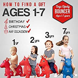 Ruffio Inflatable Bouncer - #1 Rated Cutest Bouncy Hopper Toys for Kids. Come As Animal Shape As Deer, Horse, Dog and Cow. Heavy Duty Materials Which Are Safe to Ride-on. Pump Included + Bonus!