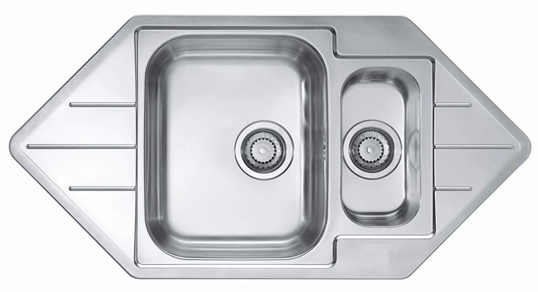 lavello da cucina lavello in acciaio inox Argento VBChome: Lavello da incasso ad angolo Alveus Line 40 985 x 500 mm lavello angolare 1,5 lavandini da campeggio