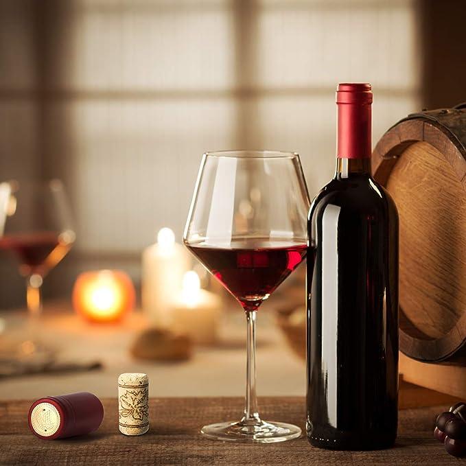 Cápsulas de corcho recto, 50 corchos de vino para manualidades y 50 tapas de encogimiento para botellas de vino: Amazon.es: Hogar