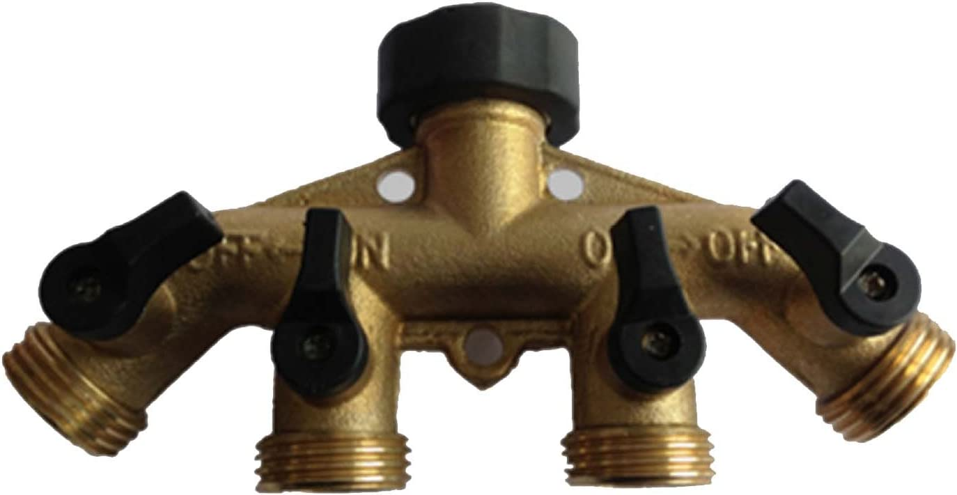 Malida 4 Way Brass Splitter,Garden Hose Splitter Connector,Brass Valve Splitter,Connector Garden Tap.