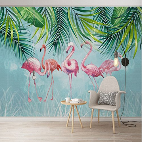 ZLJTYN 300X250Cm 3D Tropical Rain Forest Flamingos Bedroom Sofa Wallpaper Northern Europe Coconut Palm Leaf Background Wall Paper Mural Wall Cloth (Europa Wallpaper Border)