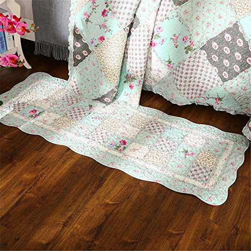 Newrara Fine Cotton Washable American Country Style Flower Patchwork Quilt Bedspread Bed Coverlets Cover Set Queen Size (Carpet, Green)