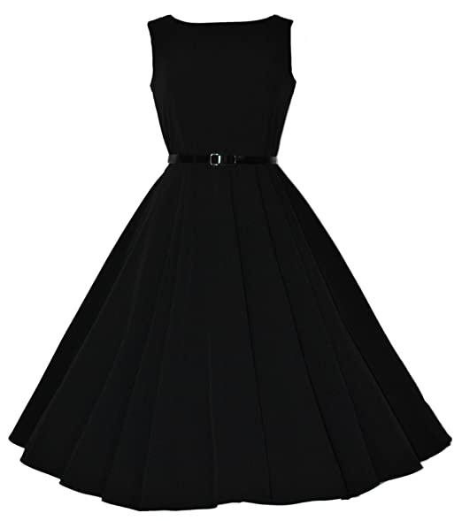 Classic 50 s Audrey Hepburn Retro Vintage Style Full Circle Black Swing  Dress ... fbdf7db4f
